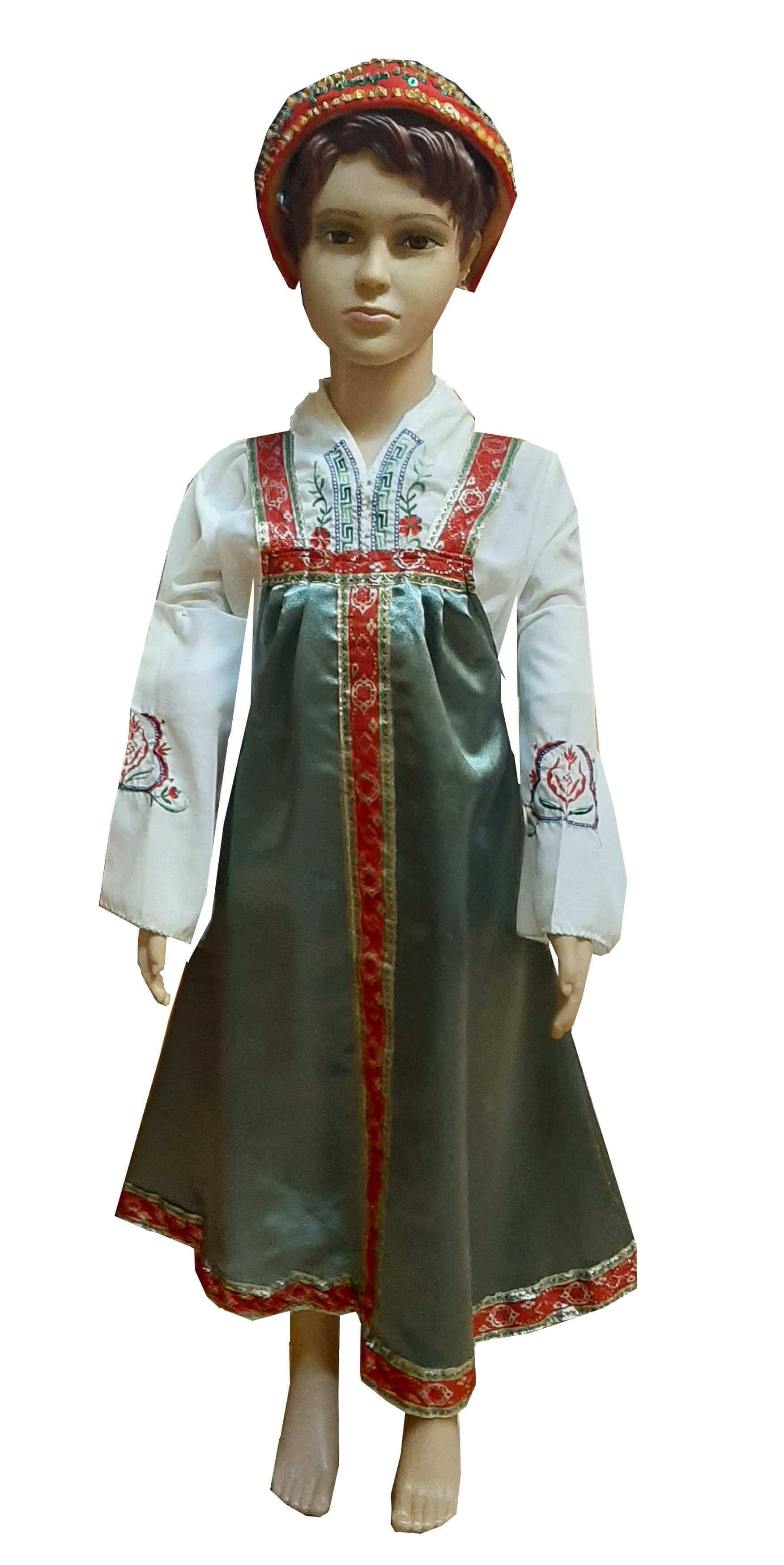 Rusų liaudies kostiumas mergaitei. Tautiniai kostiumai. Karnavalinių kostiumų nuoma vaikams Vilniuje - pasakunamai.lt